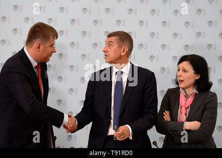Prague, Czech Republic. 16th May, 2019. The Czech Republic has no alternative to its EU membership and it is not looking for any, L-R Foreign Minister Tomas Petricek (Social Democrats, CSSD), Czech Prime Minister Andrej Babis and Czech European commissioner Vera Jourova said at the conference on the 15 years of Czech EU membership in Prague, Czech Republic, May 16, 2019. Credit: Roman Vondrous/CTK Photo/Alamy Live News - Stock Image