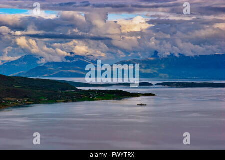 View from village Aun near Harstad in northern Norway. - Stock Image