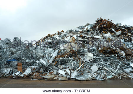 Pile of scrap metal in yard, for recycling. Cardiff, UK. - Stock Image
