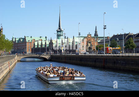 Denmark, Copenhagen, town view, stock exchange, spike tower, channel, holiday ship, tourist, town, capital, destination, - Stock Image