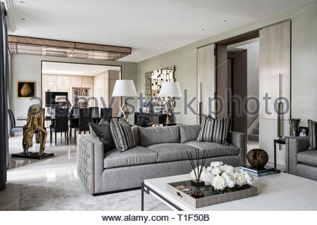 Modern living and dining room - Stock Image
