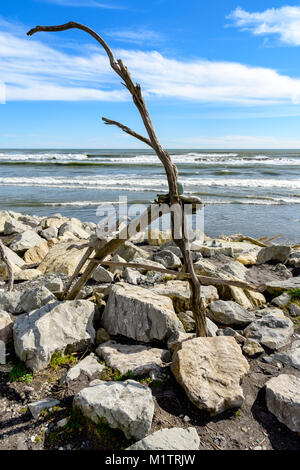 Driftwood letter A - Stock Image