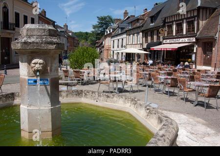 Rue de la Republique near the market square, Lyons-la-Forêt, Eure, Haute Normandie, Seine Maritime, Normandy, north-western France. - Stock Image