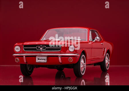 1964 Ford Mustang Coupe Welly diecast model car. - Stock Image