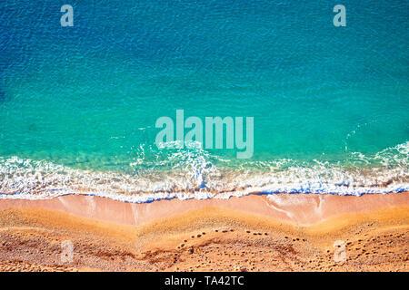 Idyllic Cote d'Azur sand beach aerial view, Villefranche sur Mer, France - Stock Image
