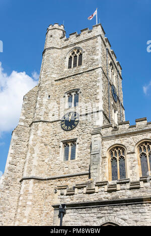 15th century tower of All Saints Church, Fulham, London Borough of Hammersmith and Fulham, Greater London, England, United Kingdom - Stock Image