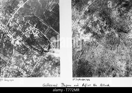 Two seperate black and white British aerial photographs, taken on 9th July 1916, and 1st September 1916, of the village of Guillemot in the Somme area of Northern France. The photographs show the complete destruction of the area after the fighting during the war. - Stock Image