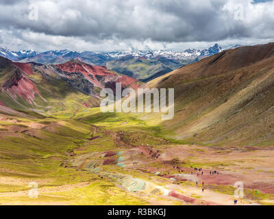 Views from the peak of the Vinicunca mountain (Rainbow mountain) - Stock Image