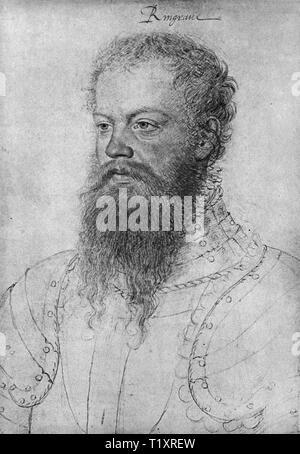 fine arts, Francois Clouet (1510 - 1572), drawing, Johann Philipp, Wild und Rheingraf, Graf von Salm (1520-1566), British Museum, London, Additional-Rights-Clearance-Info-Not-Available - Stock Image