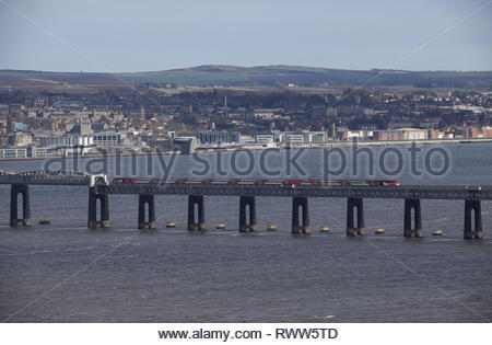High speed LNER train crossing Tay Rail Bridge Scotland  March 2019 - Stock Image