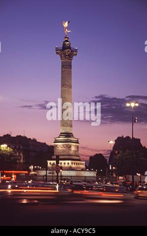 France Paris Place de la Bastille Liberty column Colonne de Juillet dusk Spirit of Liberty - Stock Image