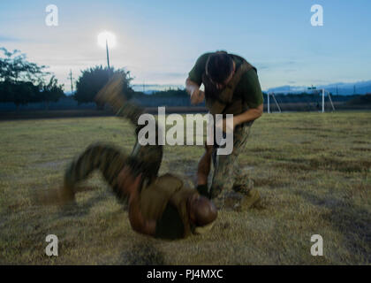 U.S. Marine Sgt. Nicholas Gawdum, a data systems administrator with Special Purpose Marine Air-Ground Task Force - Southern Command, executes a hip throw technique on an opponent during a Marine Corps Martial Arts Program class on Soto Cano Air Base, Honduras, Aug. 28, 2018. The Marines and sailors of SPMAGTF-SC are conducting security cooperation training and engineering projects alongside partner nation military forces in Central and South America. The unit is also on standby to provide humanitarian assistance and disaster relief in the event of a hurricane or other emergency in the region.  - Stock Image