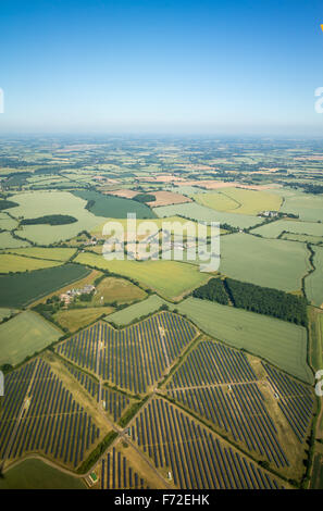 Aerial view of a solar farm in the English countryside in summer - Stock Image