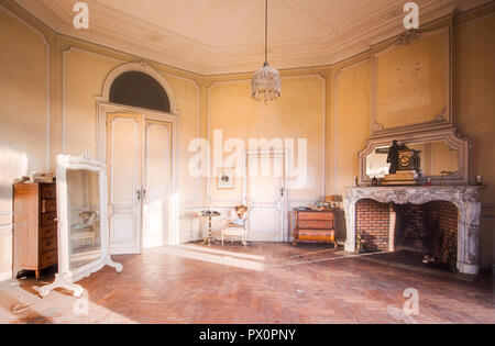 Interior view of the abandoned castle in Moulbaix, Belgium. Currently undergoing renovation. - Stock Image