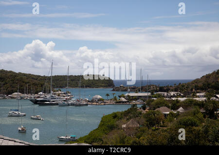 Boats moored in English Harbour in Antigua, The Caribbean - Stock Image
