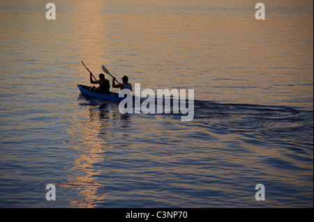 Kayaking on the Brisbane River Queensland Australia - Stock Image