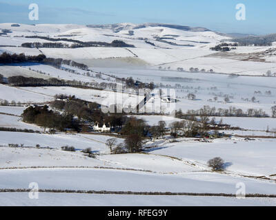 Snowy scenery from Rough Side, near Broughton, Southern Uplands, Scotland - Stock Image