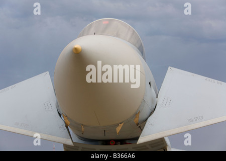 Eurofighter Typhoon fighter with canards lowered, frontal view - Stock Image