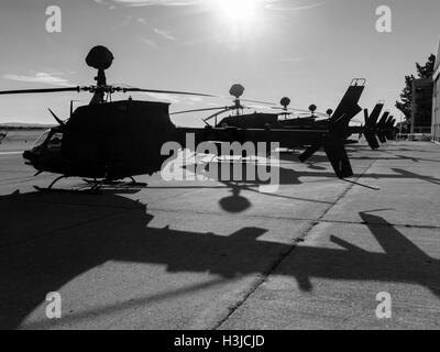 Kiowa Warrior OH-58D helicopters OH58D HRZ Croatian Air Force Zemunik near Zadar helicopter lined during public - Stock Image