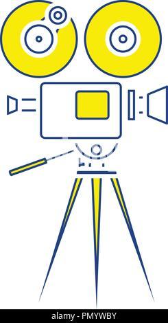 Retro cinema camera icon. Thin line design. Vector illustration. - Stock Image
