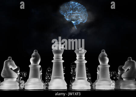 human brain playing a game of chess, artificial intelligence - Stock Image
