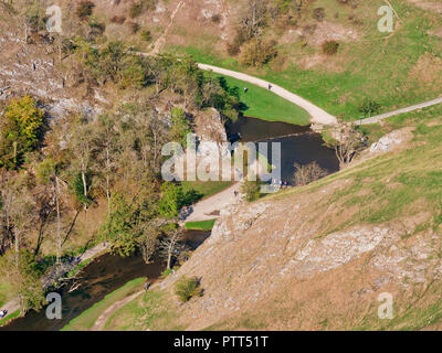 Peak District National Park, Derbyshire, UK. 10th October, 2018. UK Weather looking down at the Donedale stepping stones from Thorpe Cloud on an unusually hot sunny October day in the tourist hotspot of Dovedale in the Peak District National Park, Derbyshire Credit: Doug Blane/Alamy Live News - Stock Image