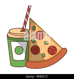 Fast food pizza and soda cup with straw - Stock Image