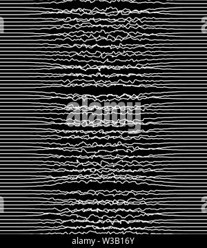 White pulsating lines, heartbeat concept. Print. Curved vibrant waves on black background, monochrome - Stock Image
