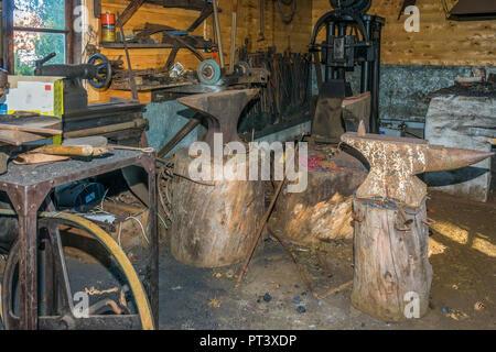 Metal Working Shop,Sunnmore Museum, Alesund, Norway - Stock Image