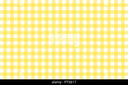 Gingham-like table cloth with banana yellow and white checks. Symmetrical overlapping stripes in a single solid color against white background - Stock Image