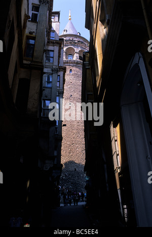 Street level view up toward the Galata Tower Istanbul - Stock Image