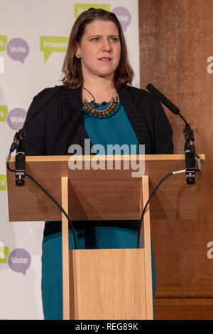 London, United Kingdom. 22 January 2019. People Vote 'Shining a light on alternative Brexit plans' press conference held at the Royal Institute of Chartered Surveyors building in central London. Pictured: Jo Swinson. Credit: Peter Manning/Alamy Live News - Stock Image