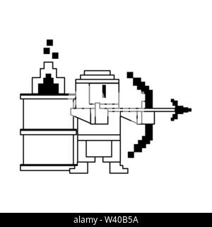 Videogame pixelated ninja with arch and barrel in fire in black and white - Stock Image
