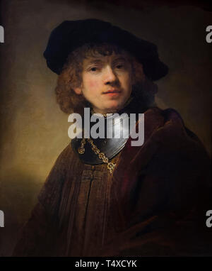 Portrait of a Young Man, Rembrandt, circa 1639, Galleria degli Uffizi, Uffizi Gallery, Florence, Tuscany, Italy - Stock Image