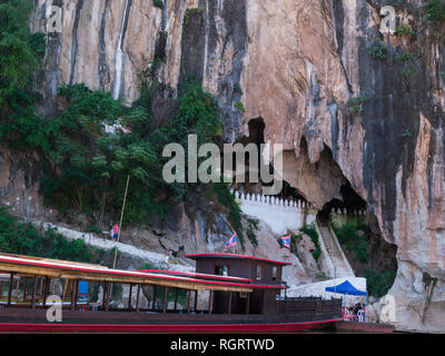 Near Pak Ou Tham Ting and  Tham Theung caves overlook the Mekong River  25 km to the north of Luang Prabang, Laos - Stock Image