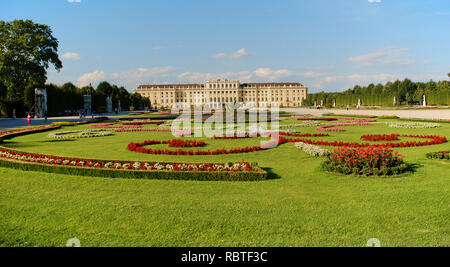 Beautiful view of famous Schloss Belvedere, built by Johann Lukas von Hildebrandt as a summer residence for Prince Eugene of Savoy, in Vienna, - Stock Image