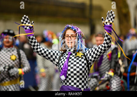 Skaters at LNYDP 2019 at London's New Year's Day Parade, UK. Female in costume - Stock Image