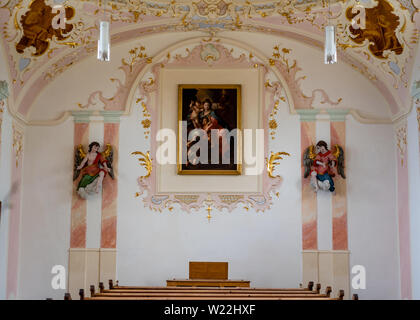 Hohenpeißenberg, Germany- May 19, 2019. Chapel inside the Pilgrimage Church of the Assumption, Baroque style. This recently renovated church is a tour - Stock Image