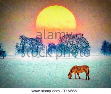 DIGITAL ART: Winter Scene at West Wycombe, Buckinghamshire, Great Britain - Stock Image