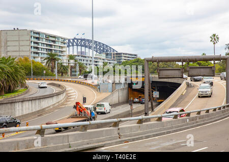 Cars and trucks driving on the cahill expressway around Sydney,New South Wales,Australia - Stock Image