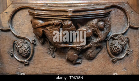 The misericord said to have inspired the opening of Lewis Carroll's 'Alice in Wonderland', Ripon Cathedral, Yorkshire, UK - Stock Image