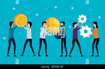 businessmen and businesswoman teamwork with coins and gears - Stock Image