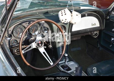 A Chevrolet Corvette Stingray interior at a car show. - Stock Image