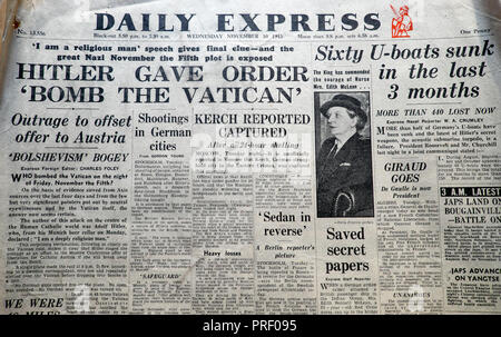 Front page headlines of the Daily Express newspaper London UK  'Hitler Gave Order 'Bomb the Vatican' ' November 10 1943 - Stock Image