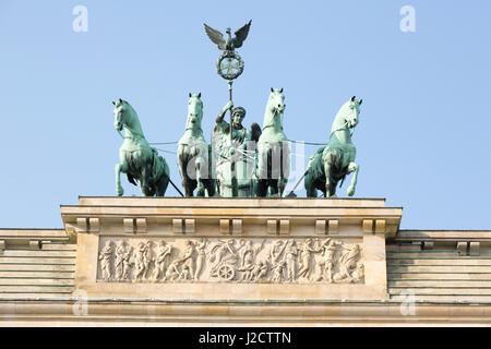 Germany, Berlin. Statue atop Brandenburg Gate. Credit as: Wendy Kaveney / Jaynes Gallery / DanitaDelimont.com - Stock Image