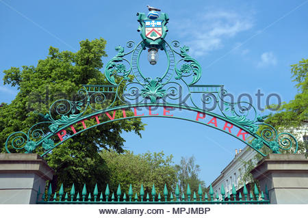 Pittville Park - entrance to the Cheltenham park in Gloucestershire, UK. - Stock Image