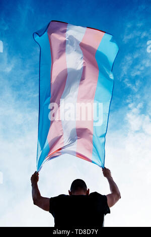 a young caucasian person, seen from behind, holding a transgender pride flag over his or her head against the blue sky - Stock Image