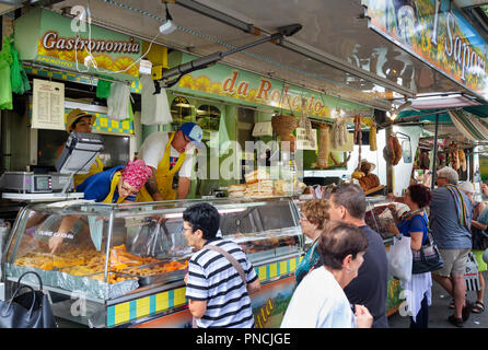 People shopping for food, Siena Market, Siena, Tuscany Italy Europe - Stock Image