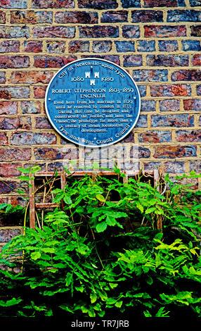 Plaque on wall of No 5 Greenfield Place, residence of Locomotive engineer Robert Stephenson, Newcastle upon Tyne, England - Stock Image