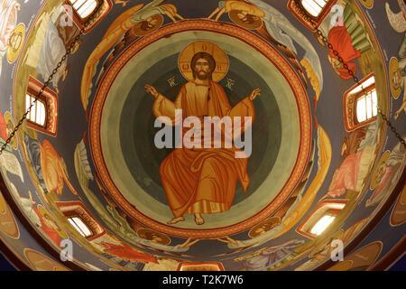 Decorated Dome Ceiling Inside Velika Remeta Monastery, Fruska Gora, Serbia - Stock Image